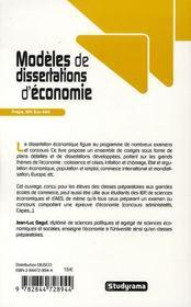 Modèles de dissertations d'économie ; prépa, IEP, éco-AES - 4ème de couverture - Format classique