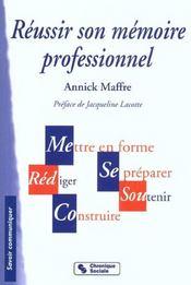 Reussir Son Memoire Professionnel ; 2e Edition - Intérieur - Format classique