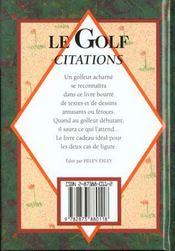 Le golf citations - 4ème de couverture - Format classique