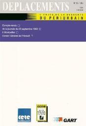 DEPLACEMENTS T.13 ; l'enjeu de la desserte du périurbain - Couverture - Format classique