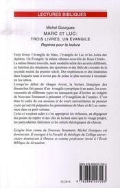 Marc et luc ; trois livres, un évangile - 4ème de couverture - Format classique