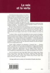 La voix et la vertu ; varietés du perfectionnisme moral - 4ème de couverture - Format classique