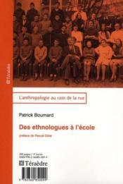 Des ethnologues à l'école - Couverture - Format classique