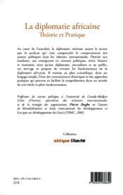 La diplomatie africaine ; théorie et pratique - 4ème de couverture - Format classique
