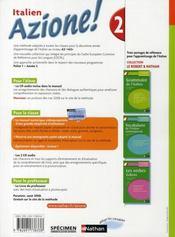 AZIONE 2 ; italien ; niveau 2, A2, A2+ ; manuel de l'élève (édition 2008) - 4ème de couverture - Format classique