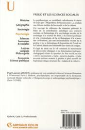 Freud et les sciences sociales ; psychanalyse et théorie de la culture - 4ème de couverture - Format classique