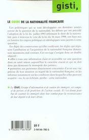 Guide de nationalite francaise - 4ème de couverture - Format classique