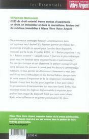 Immobilier, défiscalisez en Borloo-Robien - 4ème de couverture - Format classique