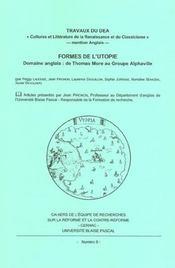 Formes De L'Utopie. Domaine Anglais : De Thomas More Au Groupe Alphav Ille - Intérieur - Format classique