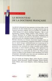 Le renouveau de la doctrine française ; les grands auteurs de la pensée juridique au tournant du XX siècle - 4ème de couverture - Format classique