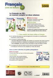 Français ; livre de lecture ; CE1 - 4ème de couverture - Format classique