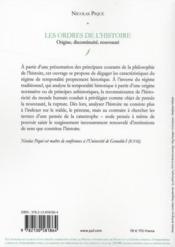 Les ordres de l'histoire ; origine, discontinuité, nouveauté - 4ème de couverture - Format classique