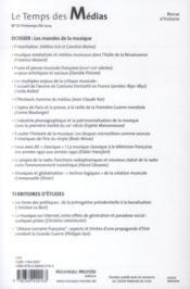 REVUE LE TEMPS DES MEDIAS N.25 ; musiques et médias - 4ème de couverture - Format classique