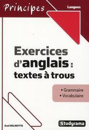 Exercices d'anglais : textes à trous - Intérieur - Format classique