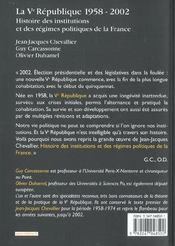 La V Republique 1958-2002 ; Histoire Des Institutions Et Des Regimes Politiques De La France ; 10 Edition - 4ème de couverture - Format classique