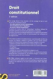 Droit constitutionnel (5e edition) - 4ème de couverture - Format classique