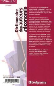 Dictionnaire des auteurs d'économie - 4ème de couverture - Format classique