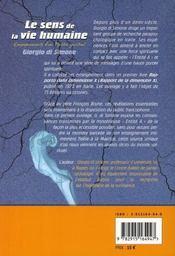 Le sens de la vie humaine ; enseignements d'un maître spirituel - 4ème de couverture - Format classique