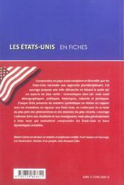 Les Etats-Unis En Fiches - 4ème de couverture - Format classique