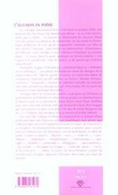 L'Allusion En Poesie - 4ème de couverture - Format classique