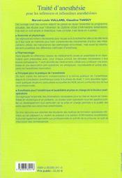 Traite D' Anesthesie Pour Les Infirmiers Et Infirmieres Anesthesistes - 4ème de couverture - Format classique