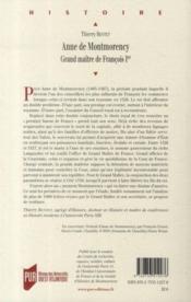 Anne de Montmorency ; grand maître de François Ier - 4ème de couverture - Format classique