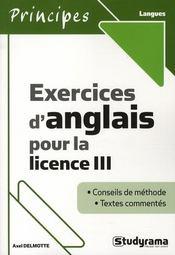 Exercices d'anglais pour la licence III - Intérieur - Format classique