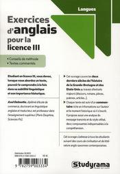 Exercices d'anglais pour la licence III - 4ème de couverture - Format classique
