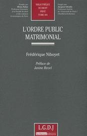 L'ordre public matrimonial t.494 - Intérieur - Format classique