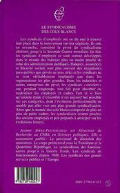 Le Syndicalisme Des Cols Blancs - 4ème de couverture - Format classique
