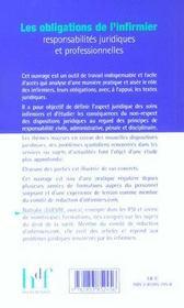 Les Obligations De L'Infirmier ; Responsabilites Juridiques Et Professionnelles - 4ème de couverture - Format classique