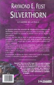 La guerre de la faille T.2 ; Silverthorn - 4ème de couverture - Format classique
