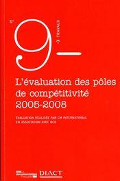 TRAVAUX (DIACT) ; l'évaluation des pôles de compétitivité 2005-2008 - Couverture - Format classique