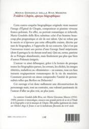 Frédéric Chopin ; aperçus biographiques - 4ème de couverture - Format classique