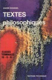 Textes philosophiques, classes terminales F8, G, H, programme 1974 - Couverture - Format classique