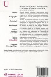 Introduction à la philosophie contemporaine du langage ; du langage à l'action - 4ème de couverture - Format classique