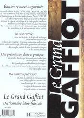 Le grand gaffiot - dictionnaire latin-francais - 4ème de couverture - Format classique
