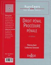Droit Penal Et Procedure Penale (4e Edition - 4ème de couverture - Format classique