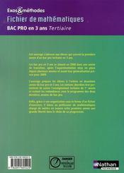 Mathématiques ; 1ere année ; bac pro 3 ans ; tertiaire ; exos et méthodes élève (édition 2008) - 4ème de couverture - Format classique