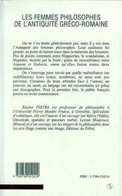 Les Femmes Philosophes Dans L'Antiquite Greco-Romaine - 4ème de couverture - Format classique