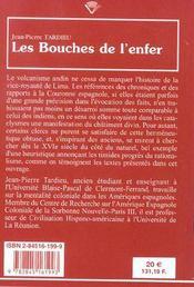 Les Bouches De L'Enfer. Representations Du Volcanisme Andin, 16e-17e Siecles - 4ème de couverture - Format classique