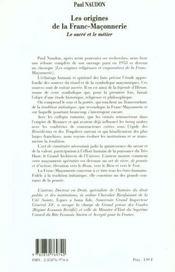 Les Origines De La Franc -Maconnerie - 4ème de couverture - Format classique