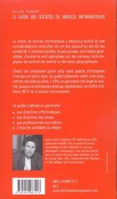 Le Guide Des Societes De Services Informatiques - 4ème de couverture - Format classique
