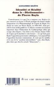 Identité et réalité dans le dictionnaire de Pierre Bayle - 4ème de couverture - Format classique