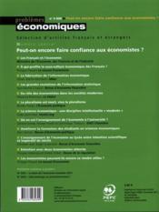Problemes Economiques N.3030 ; Peut-On Encore Faire Confiance Aux Economistes ? - Couverture - Format classique
