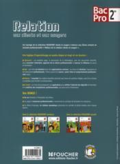 Relation aux clients et aux usagers ; 2nde bac pro ; livre de l'élève - 4ème de couverture - Format classique