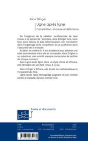 Ligne après ligne ; compétition, anorexie et délivrance - 4ème de couverture - Format classique