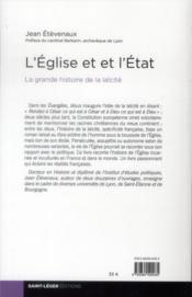 L'Eglise et l'Etat ; la grande histoire de la laïcité - 4ème de couverture - Format classique