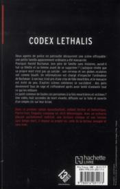 Codex lethalis - 4ème de couverture - Format classique
