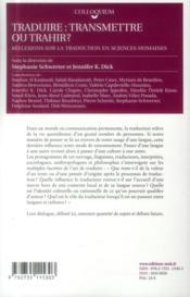 Traduire : transmettre ou trahir ?. reflexions sur la traduction en s ciences humaines - 4ème de couverture - Format classique